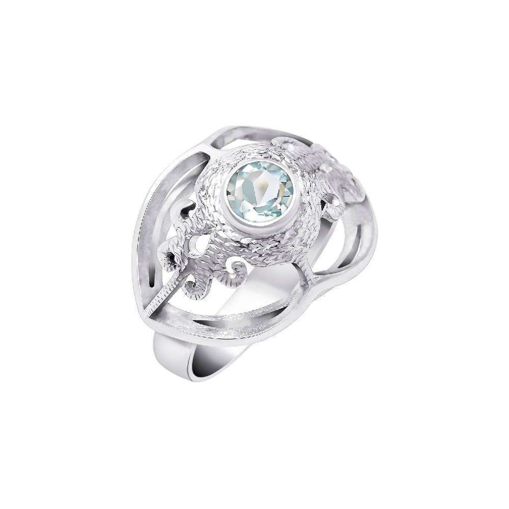Air - Sterling Silver Ring with Light-Blue Topaz