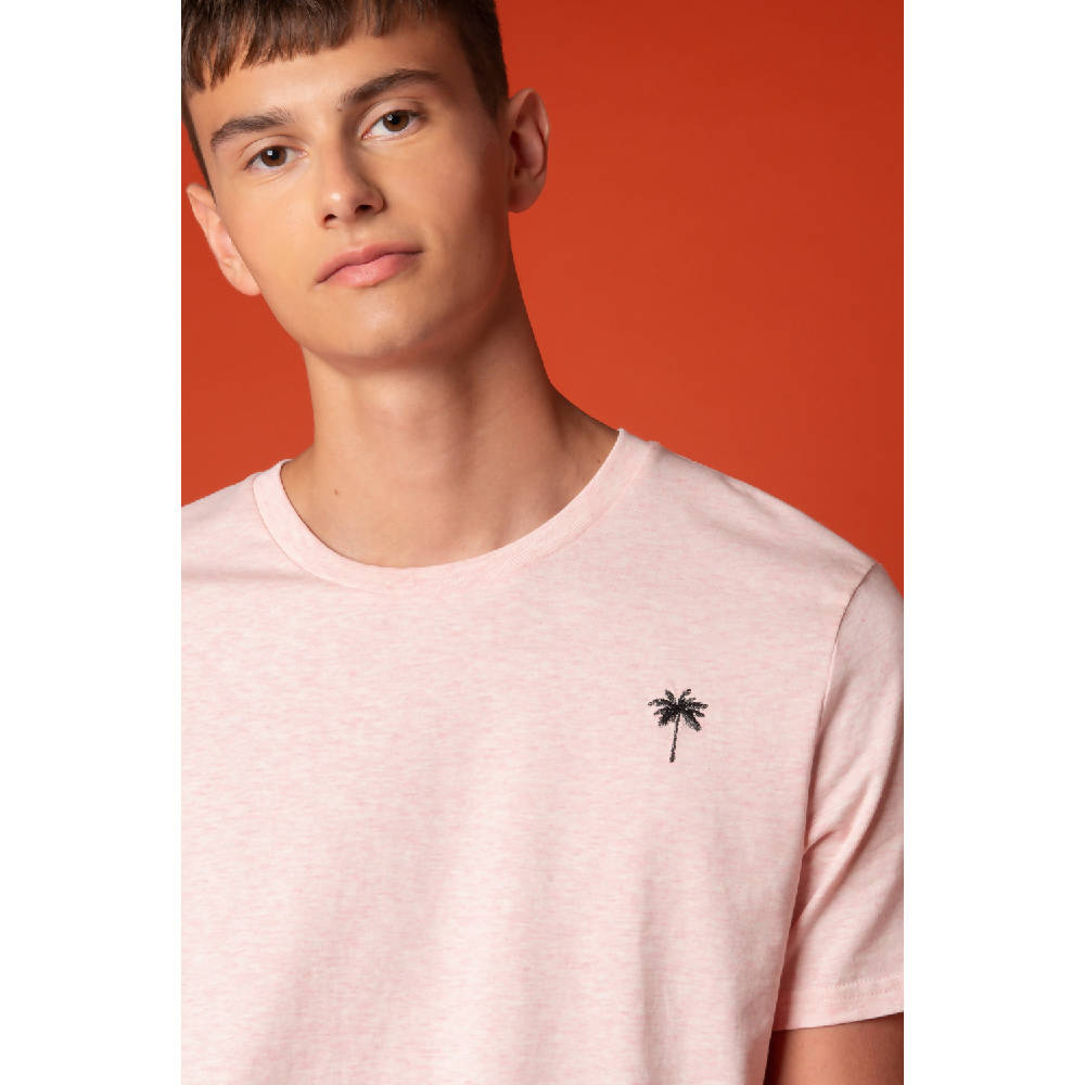 Palm Tree Embroidered T-Shirt Pink Men