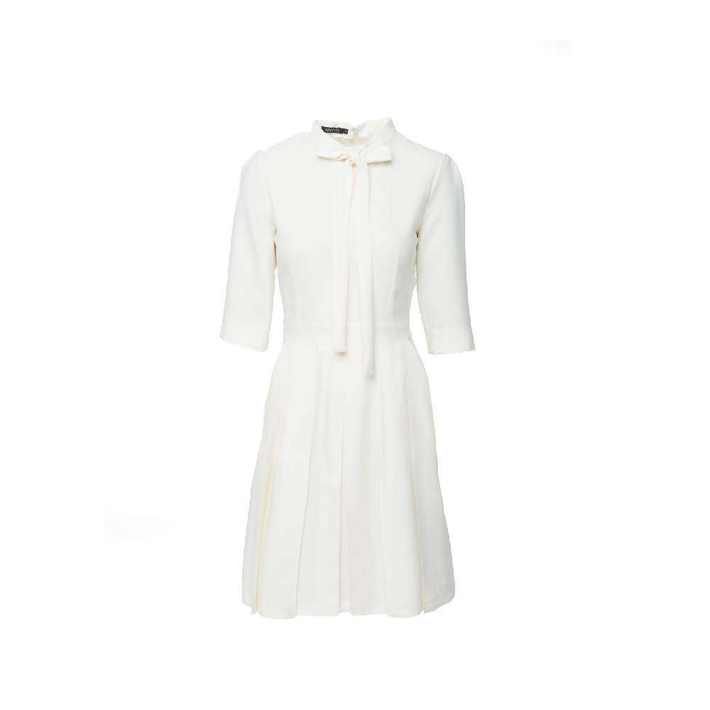 Daisy White Silk Wool Dress