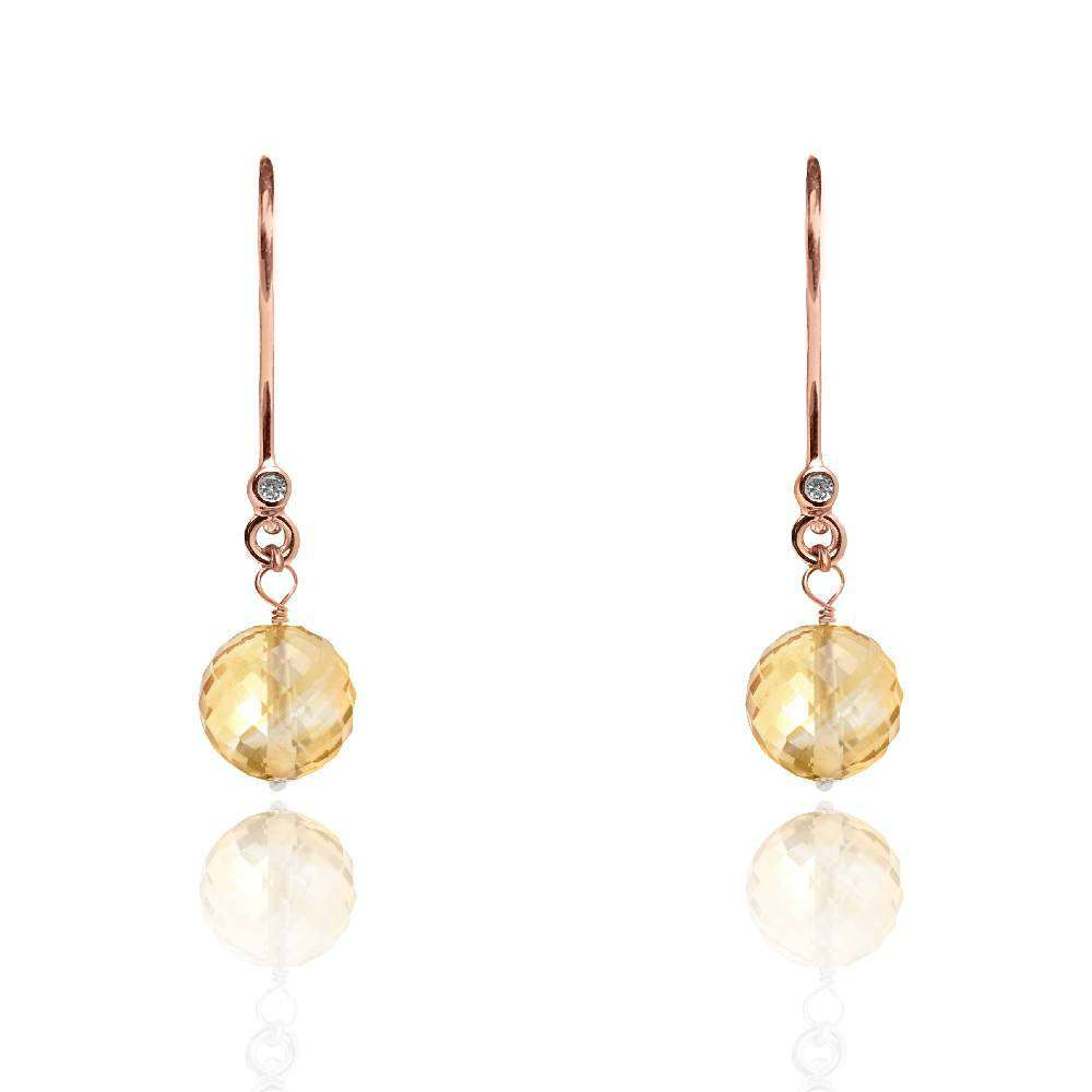 Yellow Topaz earrings November birthstone in White Gold