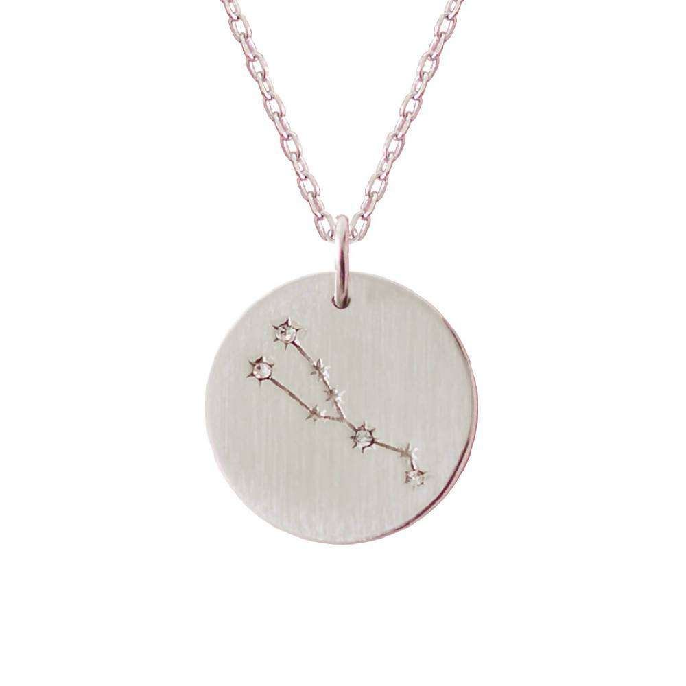 Silver Zodiac Star Sign Constellation Necklace - Taurus