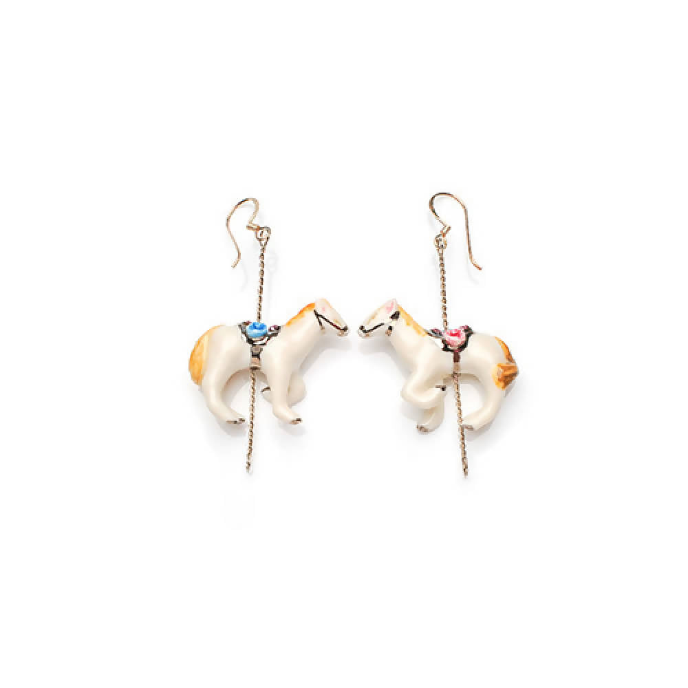 Merry Go Round Porcelain Horse Drop Earrings