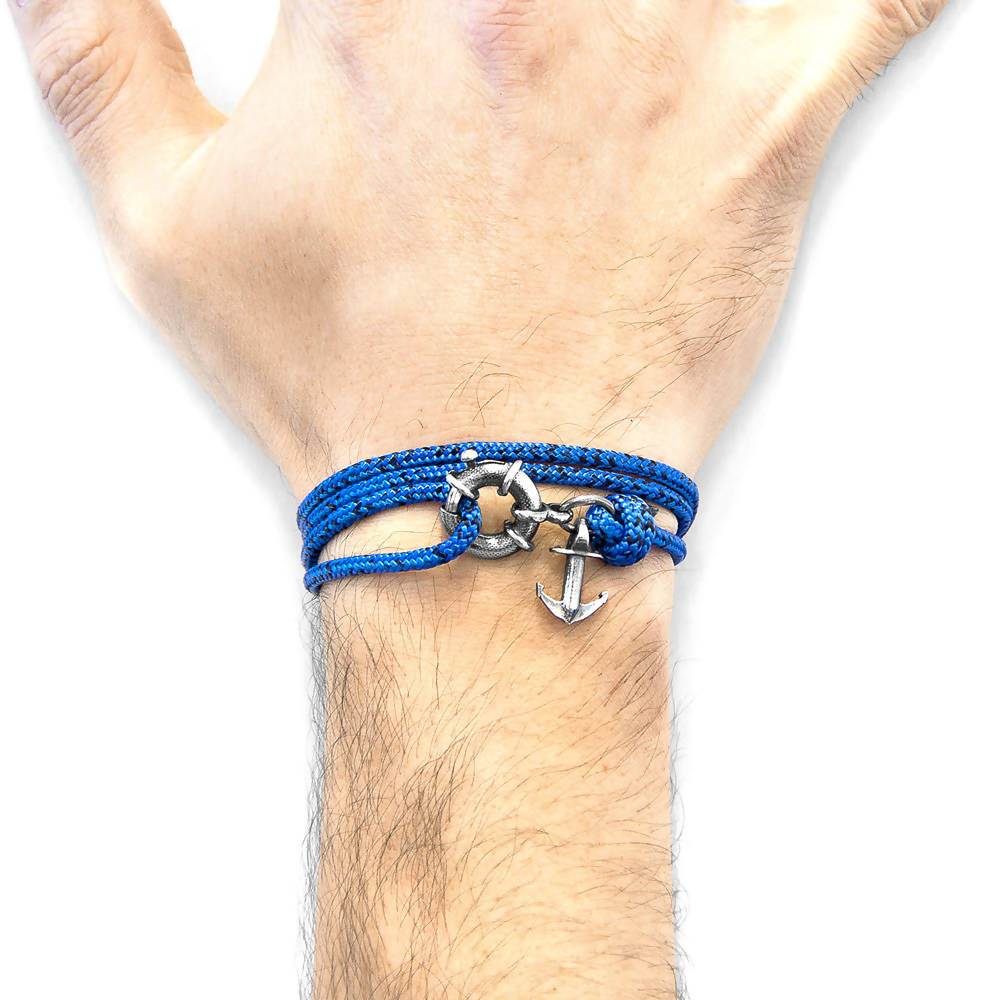 BLUE NOIR CLYDE ANCHOR SILVER AND ROPE BRACELET