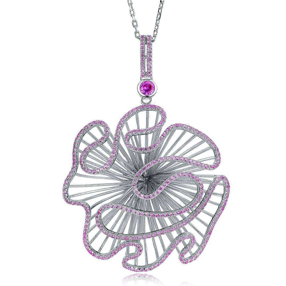 Cascade Large Pendant in 925 Sterling Silver White Rhodium colour with Pink Stones