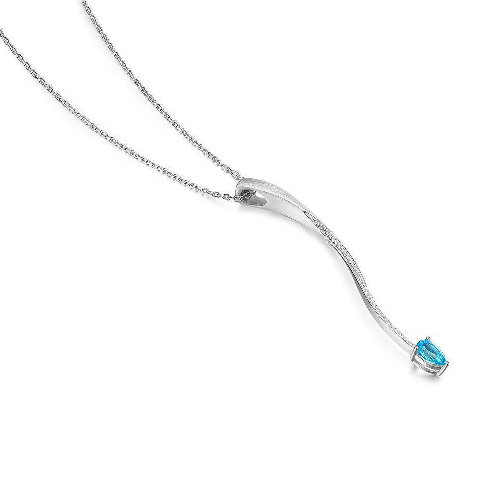 Shooting Star Blue Topaz Long Pendant in 925 Sterling White Rhodium Colour