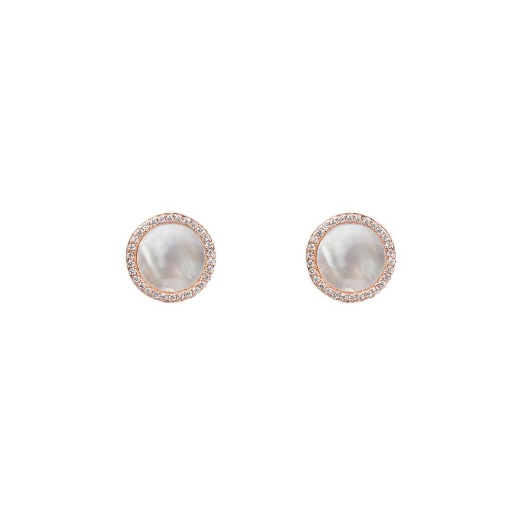 Mother of Pearl 925 Sterling Silver Ear Stud - Gold Tone