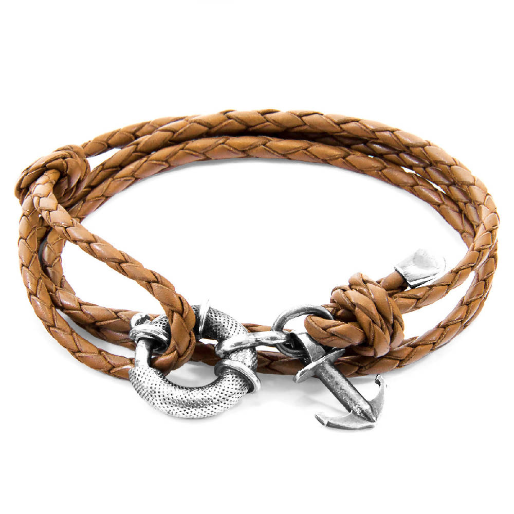 LIGHT BROWN CLYDE ANCHOR SILVER AND BRAIDED LEATHER BRACELET
