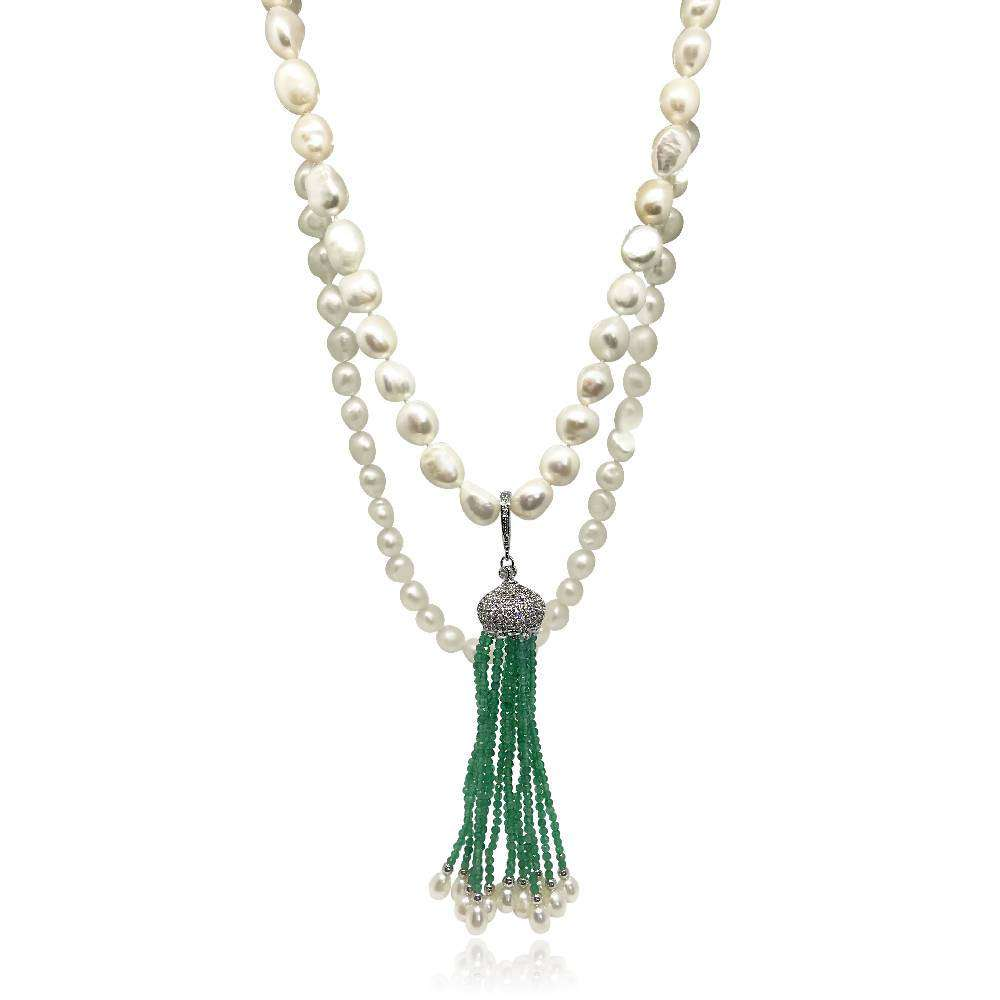 White Pearl Long Necklace with Detachable Green Emerald Tassels