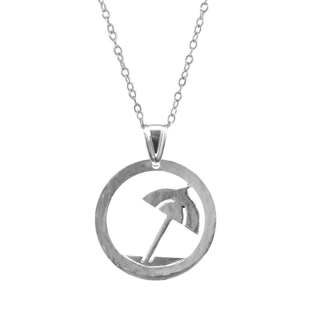 BEACH PARASOL DISC PARADISE SILVER NECKLACE PENDANT