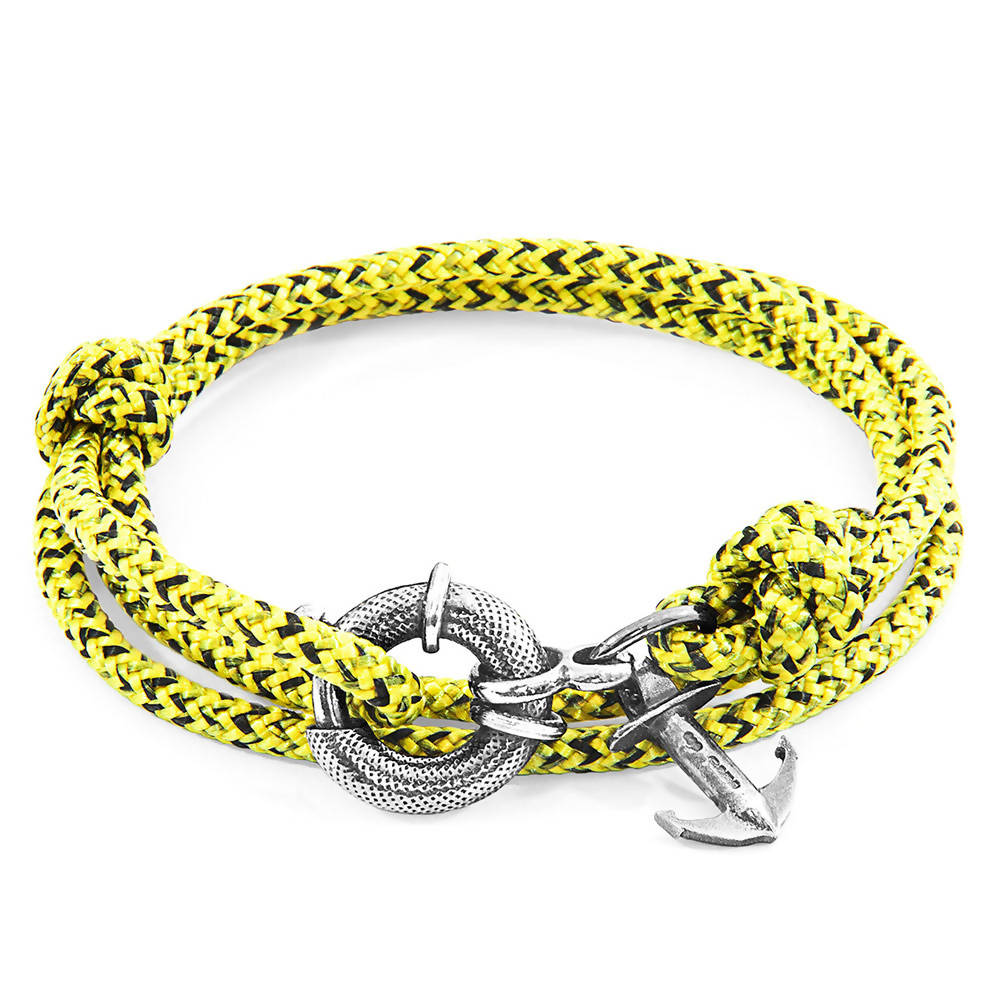 YELLOW NOIR CLYDE ANCHOR SILVER AND ROPE BRACELET