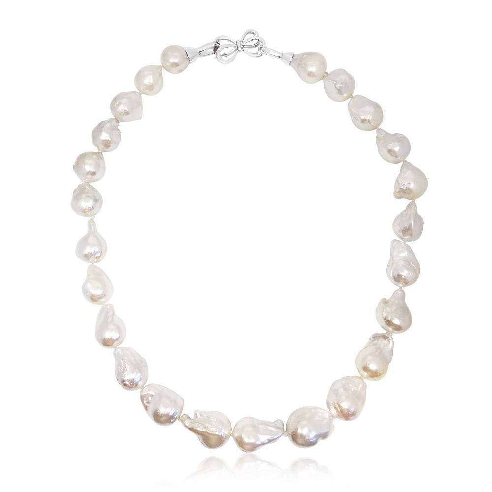 Silvery White Large Baroque Pearl Necklace