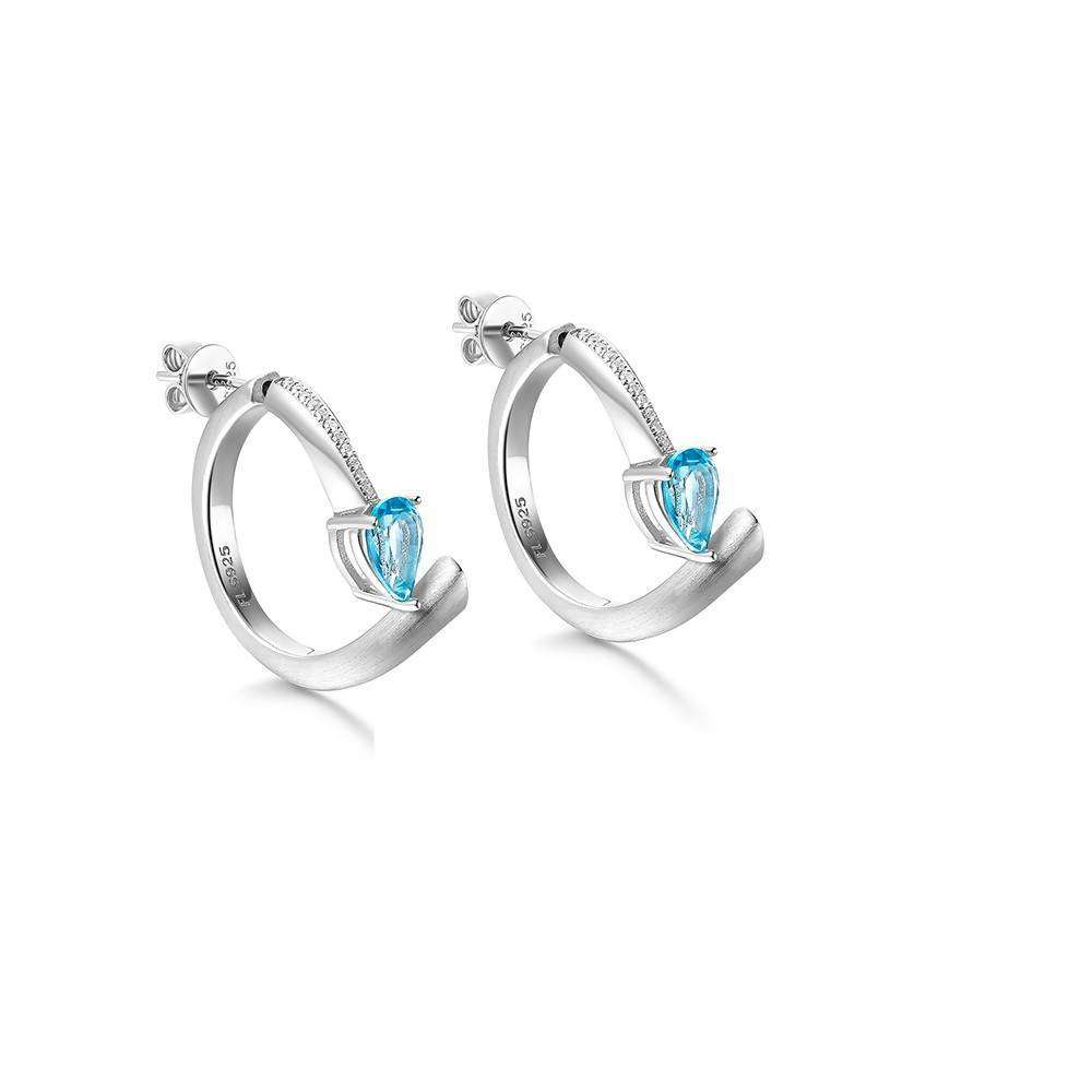 Shooting Star Blue Topaz Hoop Earrings in 925 Sterling White Rhodium Colour