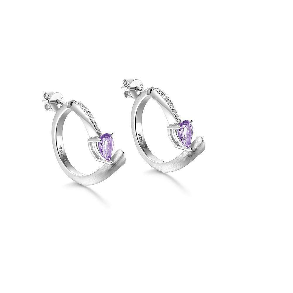 Shooting Star Purple Amethyst Hoop Earrings in 925 Sterling White Rhodium Colour