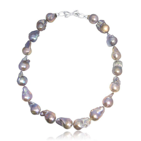 Fine Silk Band Pearl Choker - Royal Blue