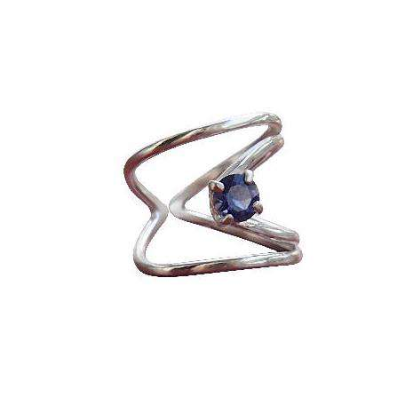 Silver Rhombus Ring With Blue Iolite