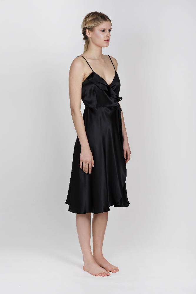 Aloise SIlk Black Wrapdress
