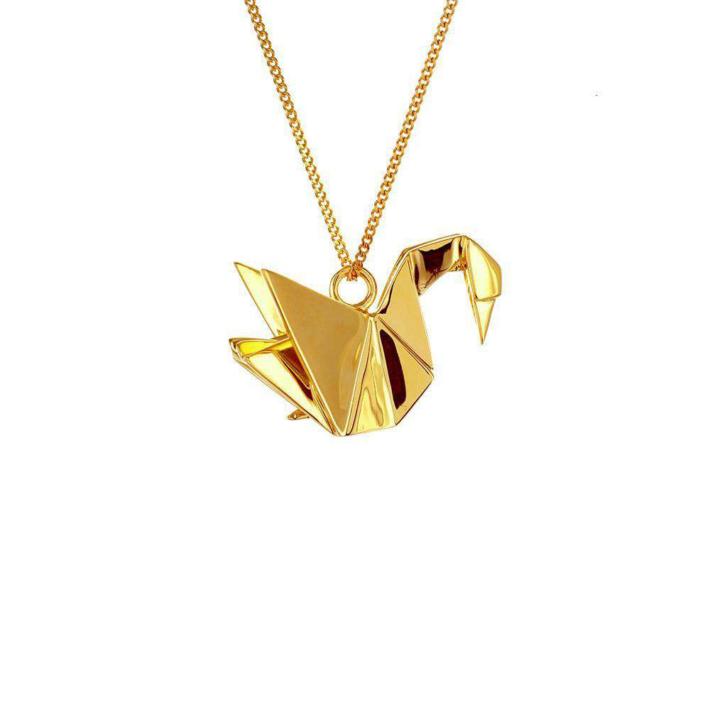 Origami Jewellery Sterling Silver Gold Plated Swan Necklace gwgcMUhg