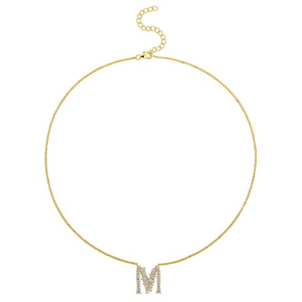 Gold Plated 925 Sterling Silver Initials Necklace Collection - Letter M