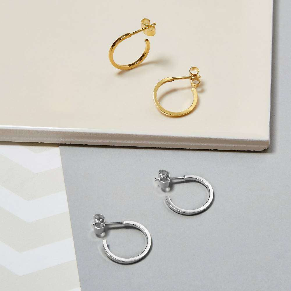 Mini Square Hoop Earrings - Gold
