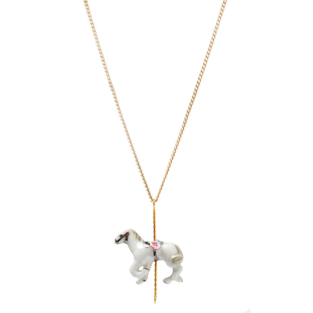 Merry Go Round Porcelain Small Horse Pendant With Gold Plated Necklace