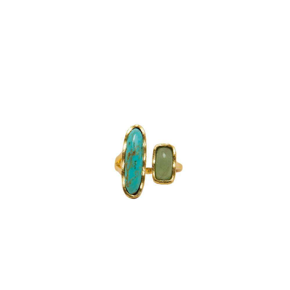 Deco Twin Stone Ring in Turquoise/Aventurine