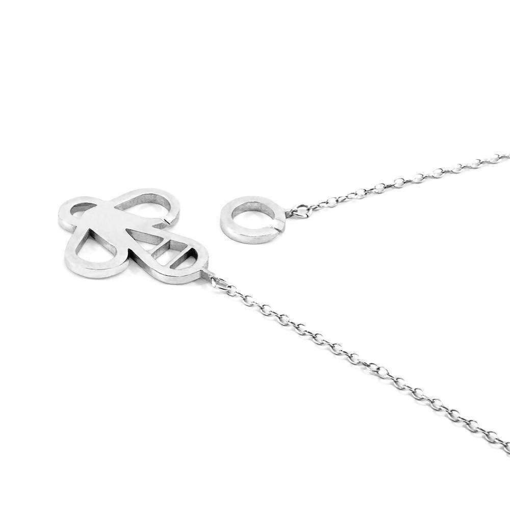KISSING LIPS LINK PARADISE SILVER NECKLACE PENDANT