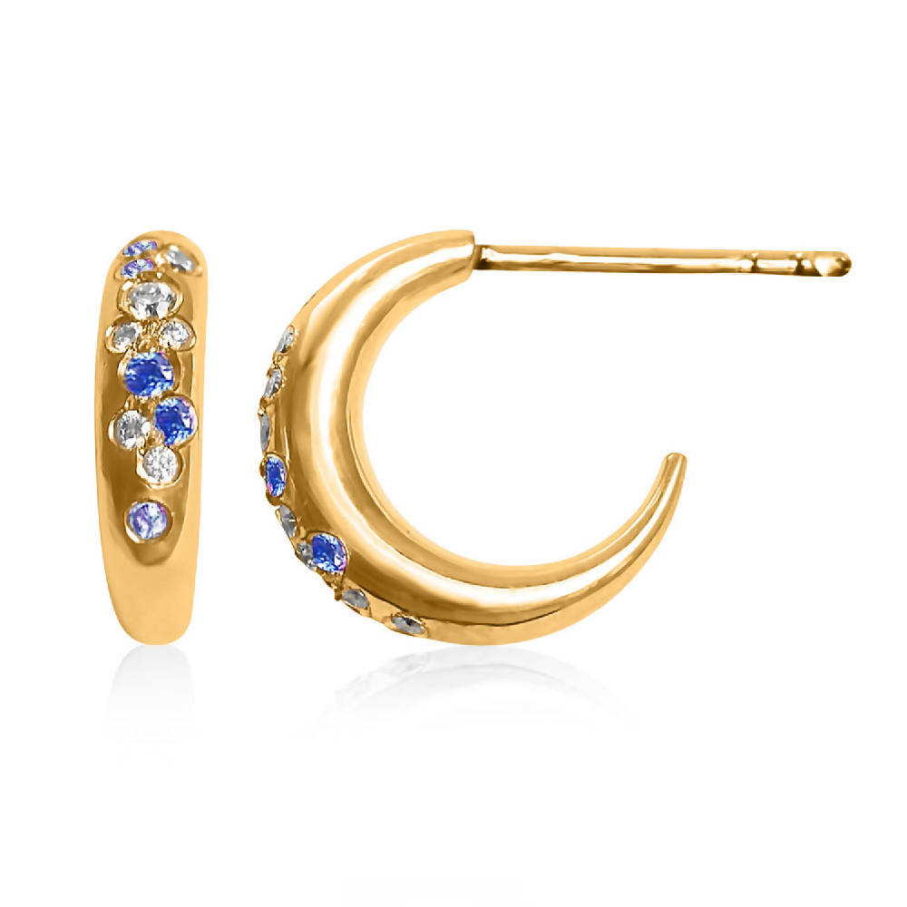 To the Moon and Back - 18ct Gold, Diamond and Blue Sapphire Pavé Moon Earrings