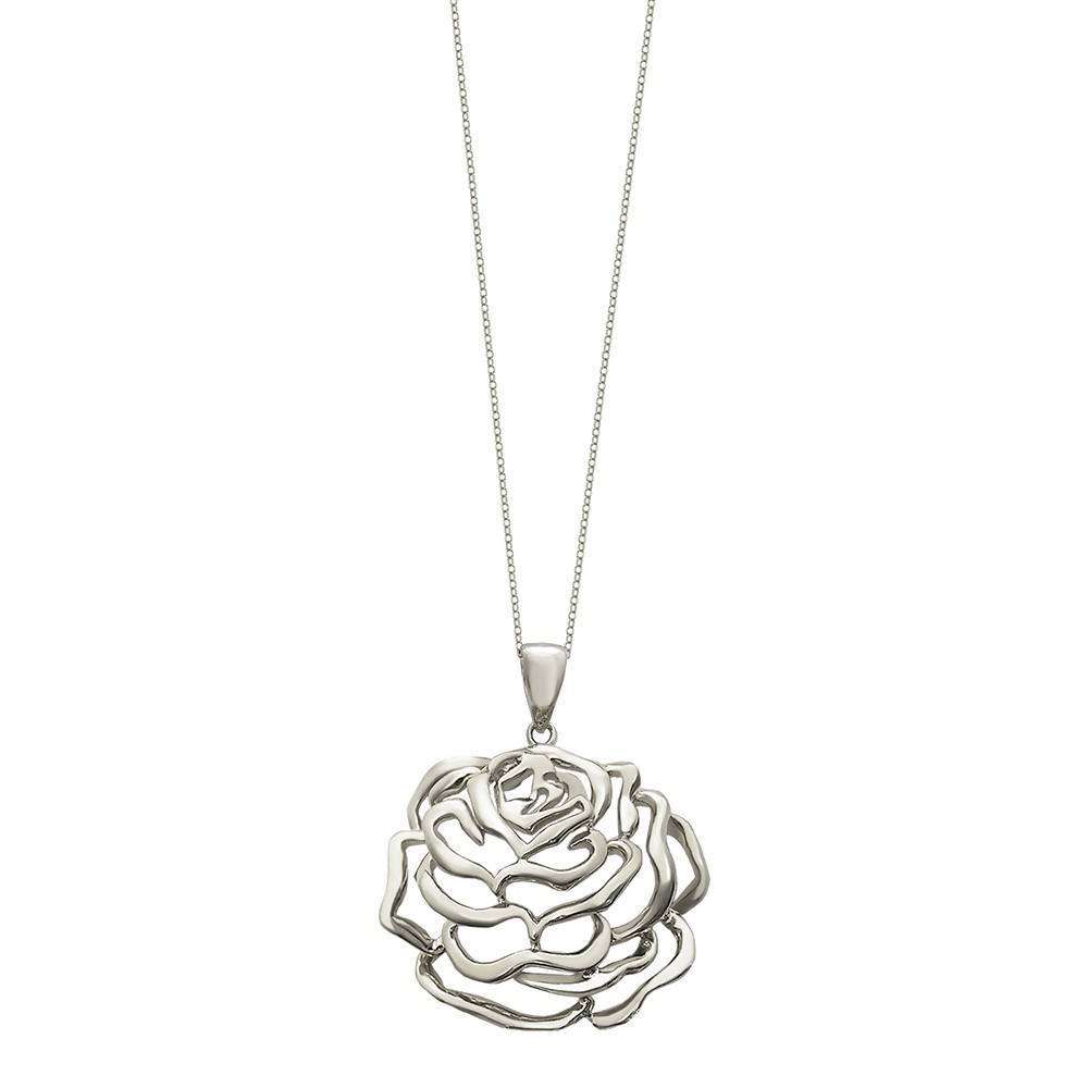 Rose Large Pendant in 925 Sterling Silver in White Rhodium colour with Clear Stones
