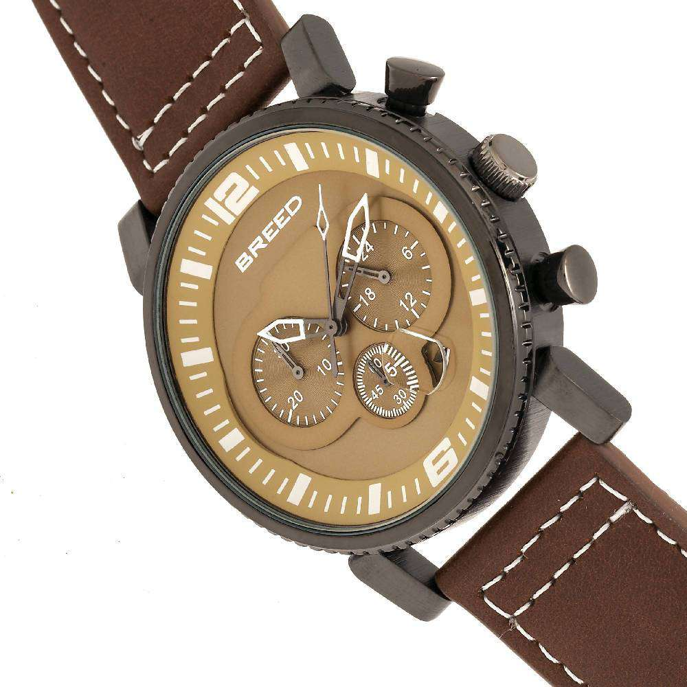 Breed Ryker Chronograph Leather-Band Watch w/Date