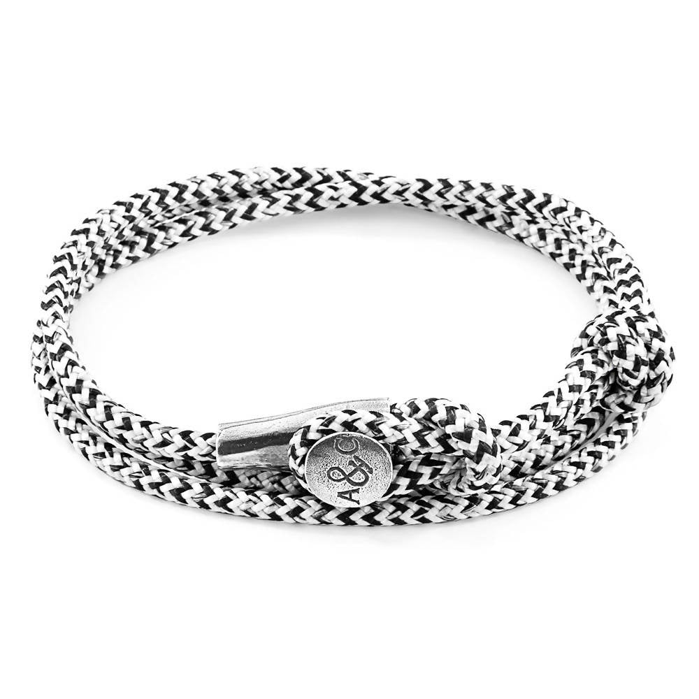 WHITE NOIR DUNDEE SILVER AND ROPE BRACELET
