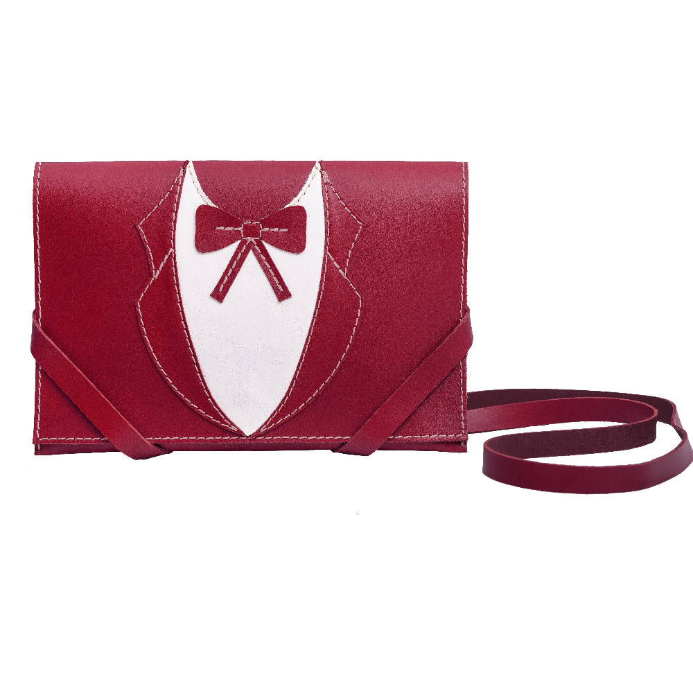 Tablet Leather bag Moni in red