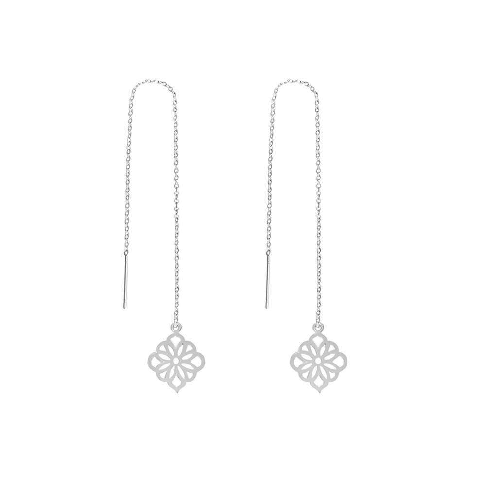 Silver Mandala Ear Threader Earrings