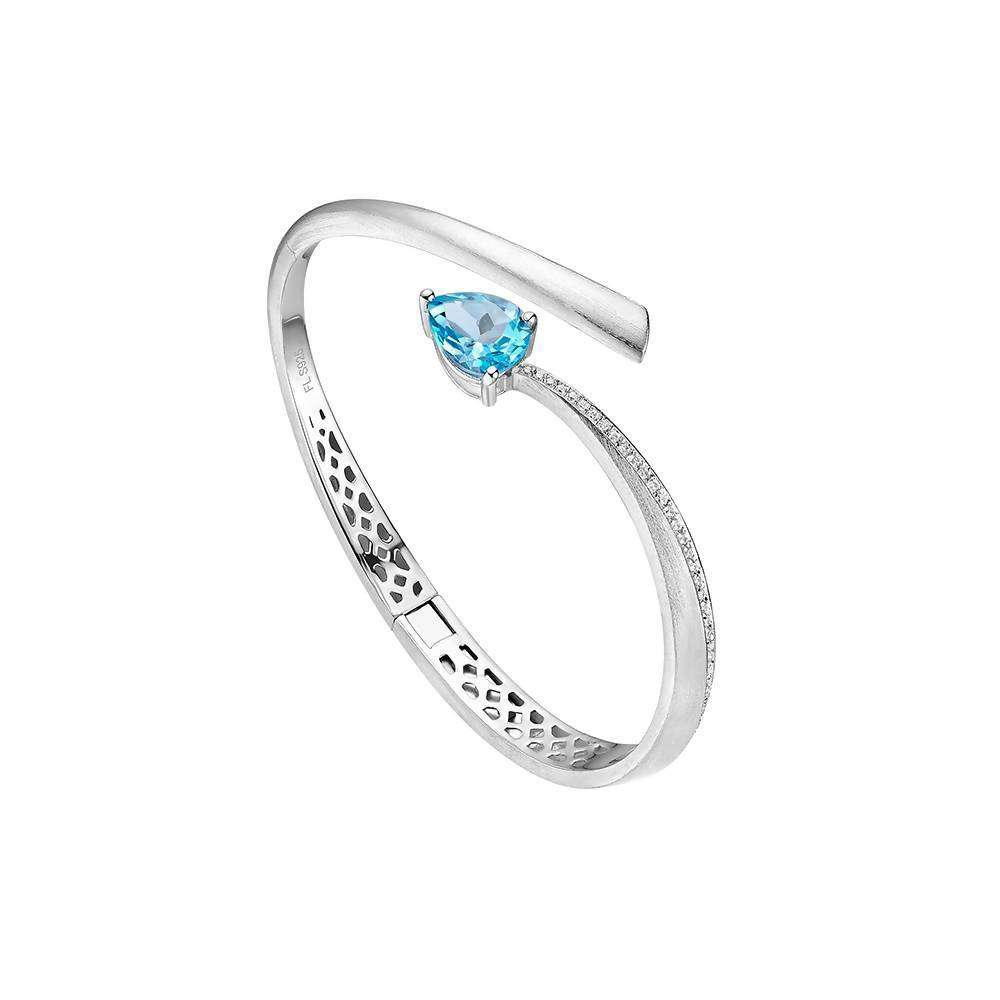 Shooting Star Blue Topaz Bangle in 925 Sterling Silver White Rhodium Colour