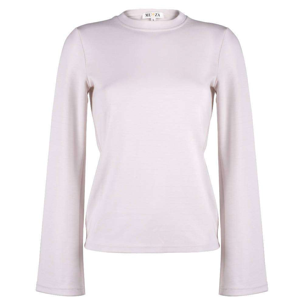 Crew Neck Viscose Top With Fluted Sleeves In Pale Pink