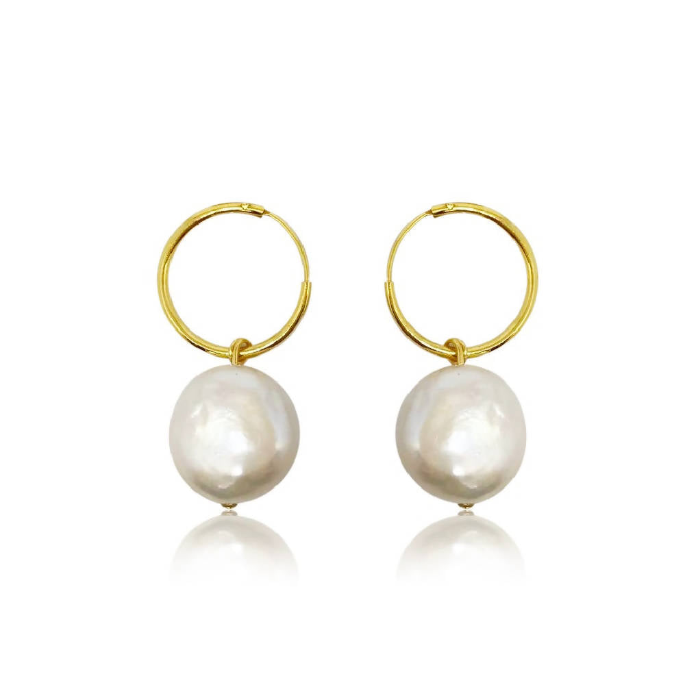 White Coin Pearl Hoop Earrings Drop, Gold Vermeil