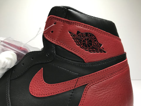 Air Jordan 1 Bred 2016 Nike stitching and wings logo authentic