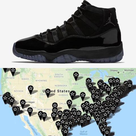 b1ea6a9803ecfd ... foot locker ae6a3 32fd5  italy jordan 11 cap and gown release map  launch locator footaction 70d2f 50e74