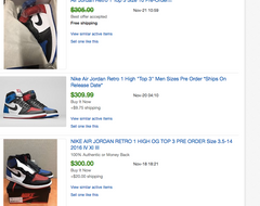 Jordan 1 High OG Top 3 Ebay Pre-Order Price Value