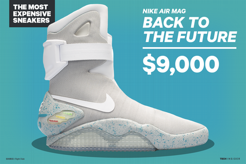 Nike Air Mag 2011 and 2016 - The shoes made famous by Michael J. Fox in  Back To The Future II. In 2011, 1,500 pairs were auctioned on eBay.