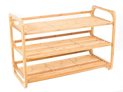 BirdRock Home 3-Tier Bamboo Shoe Rack | Environmentally Friendly | Fits 9-12 Shoes