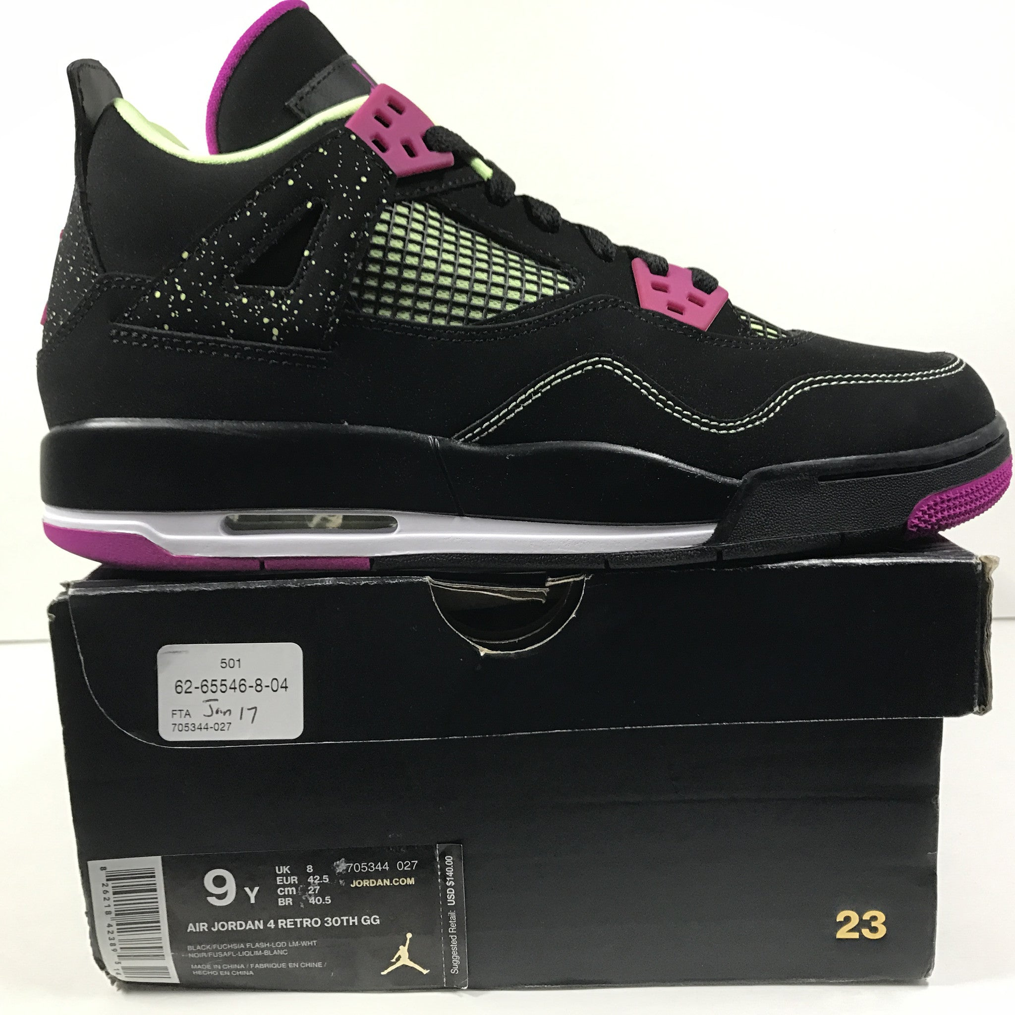 DS Nike Air Jordan 4 IV Retro 30th GG Black/Fuchscia Size 9Y - DOPEFOOT  - 2