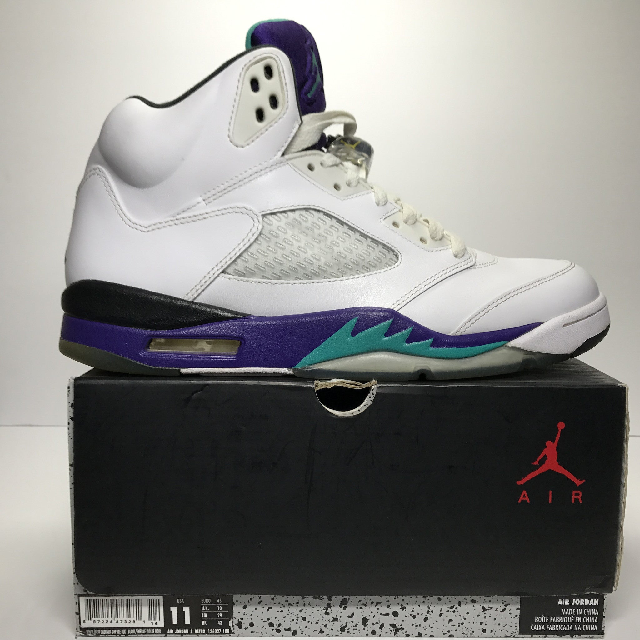Nike Air Jordan 5 V Retro White Grape Size 11