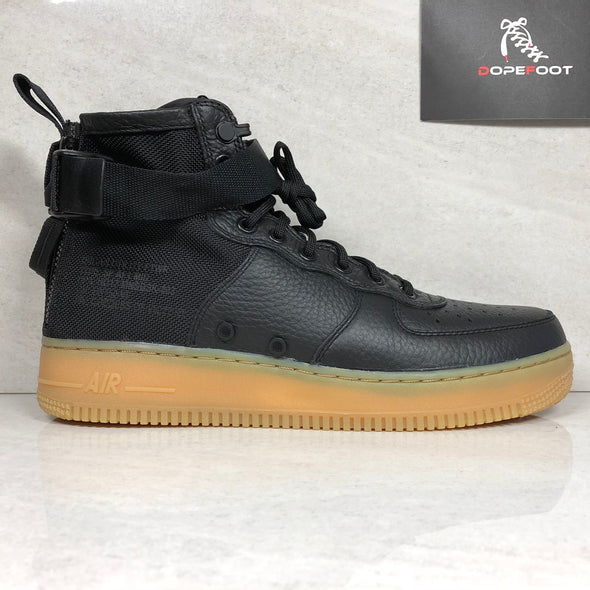 DS Nike SF AF1 Mid Size 9/9.5/Size 10.5 Air Force 1 Black/Gum 917753 003