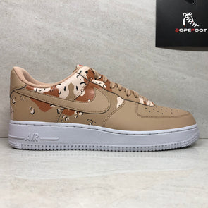 Nike Mens Air Force 1 '07 Low Camo 823511-202 Shoes Size 10.5 Beige/Orange