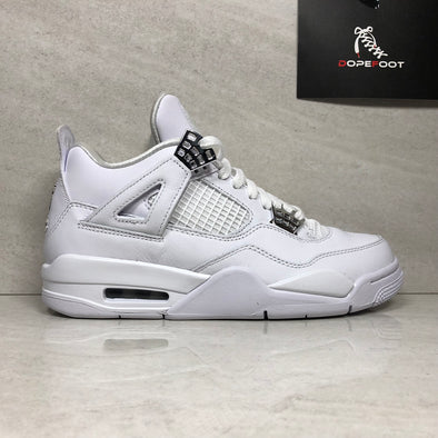 Nike Air Jordan 4 IV Retro Pure Money 308497-100 Men's Size 7/Size 12.5 White/Metallic Silver