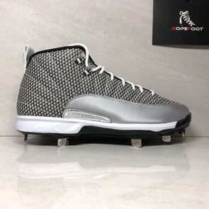 Nike Air Jordan 12 XII Retro MCS 854567 100 Baseball Metal Cleats Size 8/8.5 Silver Grey
