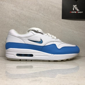 NIKE Men Air Max 1 Premium SC Jewel 918354-102 Men's Size Size 9.5/Size 12 White Blue