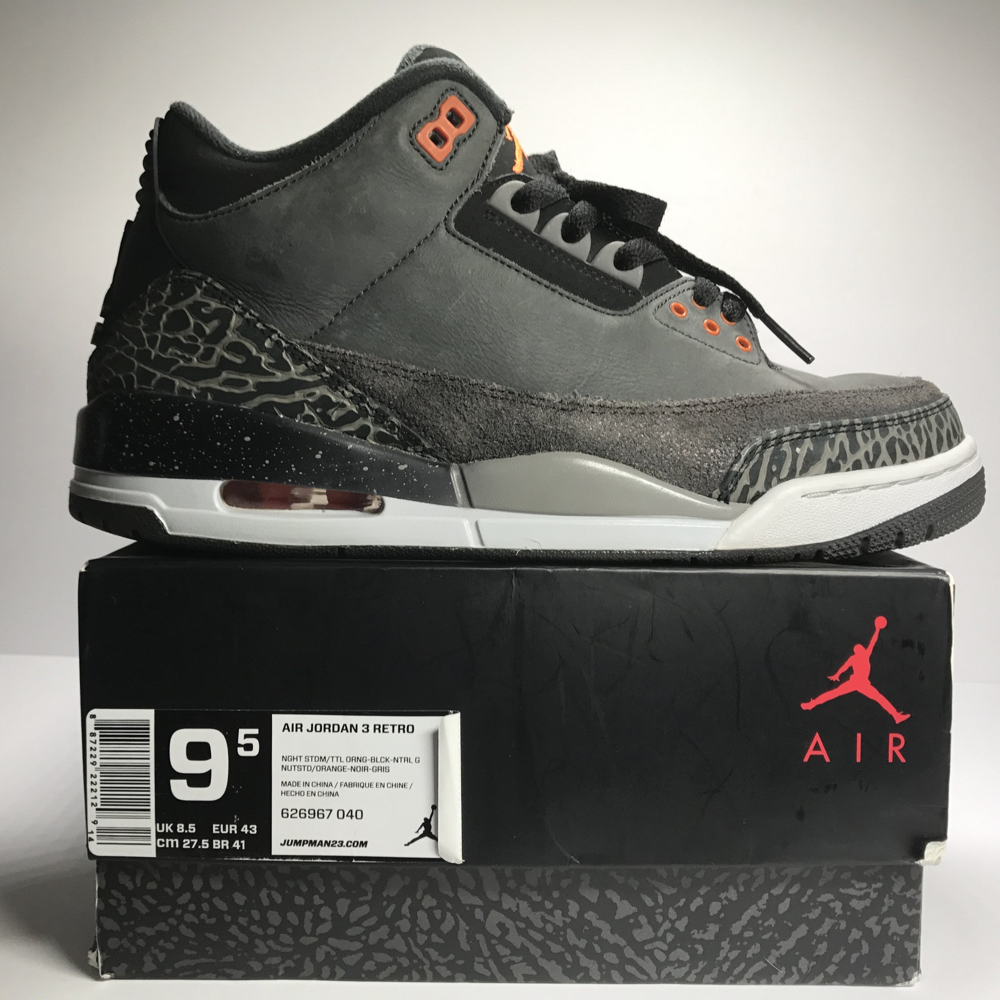 Nike Air Jordan 3 III Retro Fear Pack Size 9.5