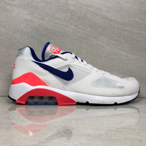 NIKE Men's Air Max 180, White/Ultramarine-Solar Red, 13 M US