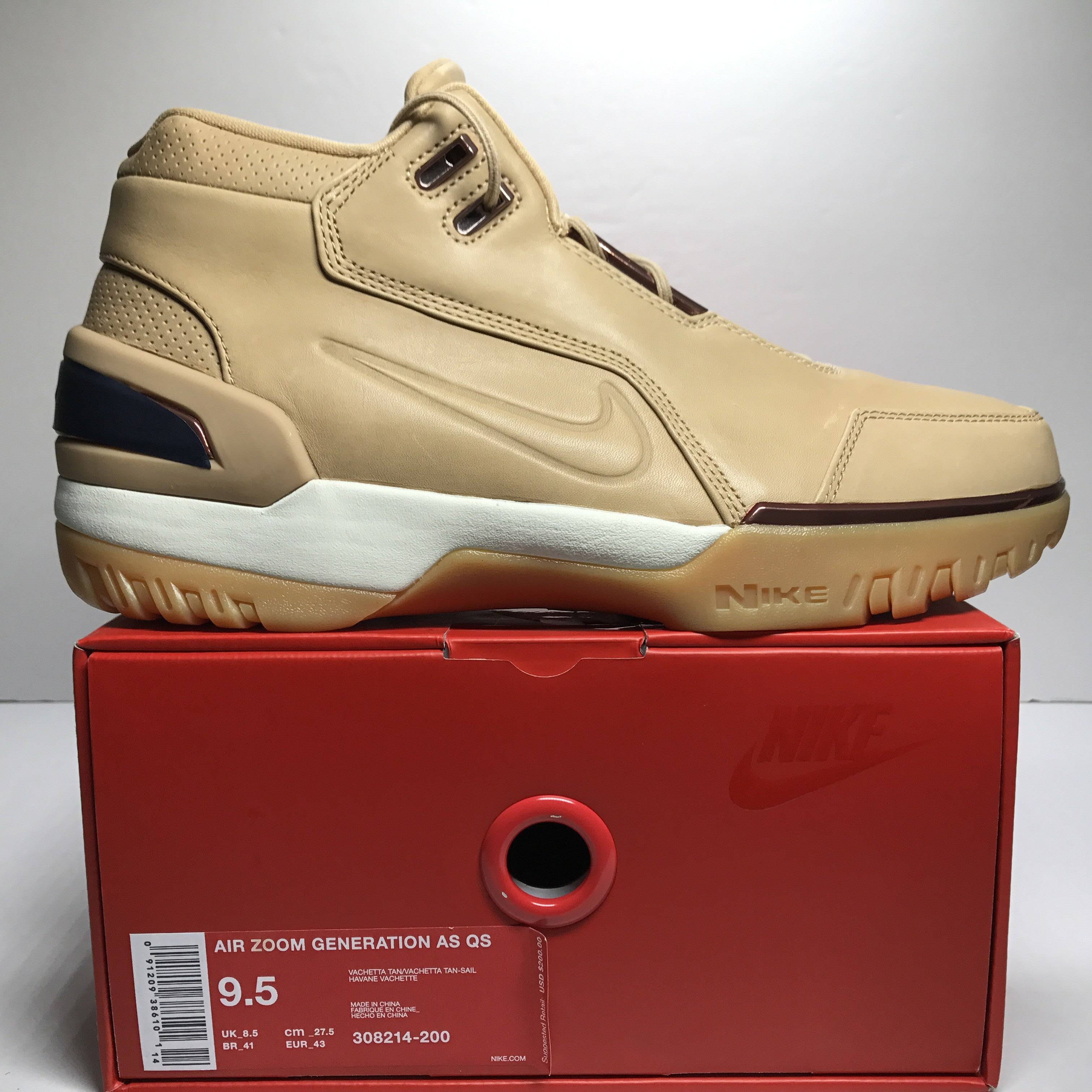 DS Nike Air Zoom Generation All Star QS Vachetta Tan Size 9.5